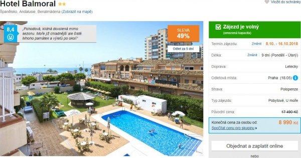 Španělsko: Andalusie z Prahy na 9 dní s polopenzí za 8 990 Kč! Sleva 49 %!