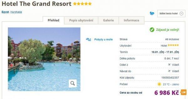 Egypt z Vídně na 8 dní v 5* hotelu s All Inclusive za 6 986 Kč!