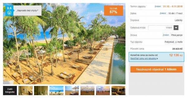 Srí Lanka z Vídně či Budapešti na 10 dní s plnou penzí za 12 136 Kč, sleva 57 %
