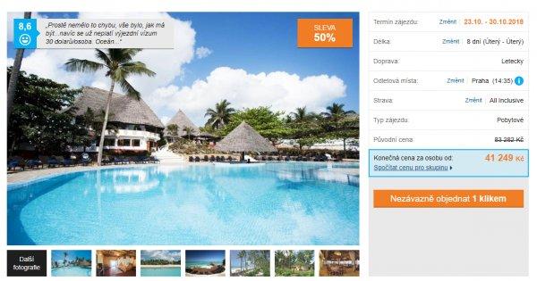 Zanzibar z Prahy s All inclusive na 8 dní za 41 249 Kč, sleva 50 %