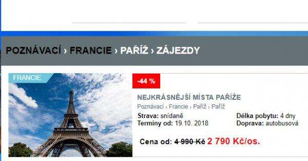 Do Paříže za poznáním, 4 dny se snídaní za 2 790 Kč, sleva 44 %