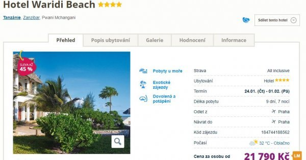 Zanzibar z Prahy na 9 dní s All Inclusive v 4* hotelu za 21 790 Kč! Sleva 45 %!