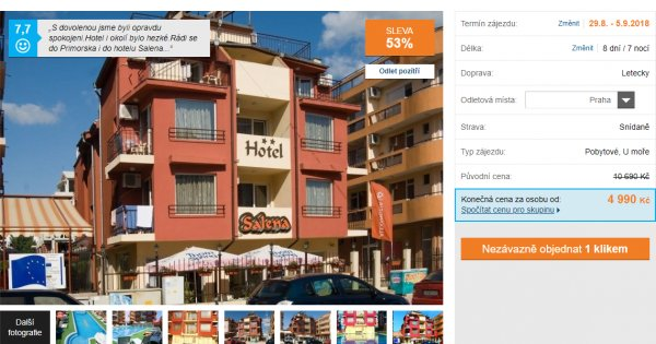 Primorsko se snídaní za 4 990 Kč, sleva 53%
