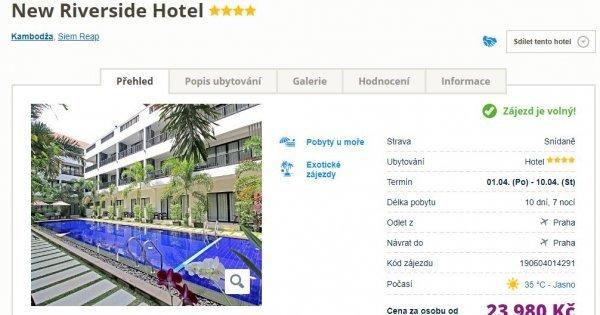 Kambodža z Prahy v dubnu na 10 dní v 4* hotelu se snídaní za 23 980 Kč! 7 km od chrámů Angkor Wat!