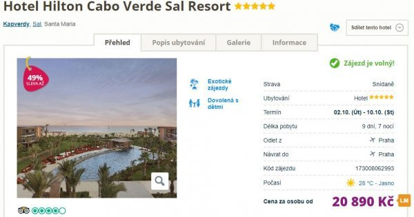 Kapverdy: 5* Hilton z Prahy na 9 dní se snídaní za 20 890 Kč! Sleva 49 %!