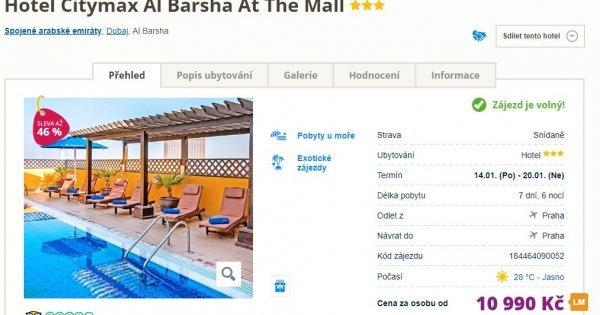Dubaj z Prahy na 7 dní v hotelu se střešním bazénem a výhledem na centrum za 10 990 Kč! Sleva 46 %!